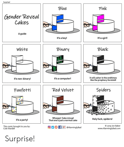 Party, Usher, and Black: Surprise!  Pink  Blue  Gender Reveal  Cakes  A guide  It's a girl!  It's a boy!  Black  White  Binary  It will usher in the endtimes  It's a computer!  It's non-binary!  like the prophecy foretold!  Red Velvet  Spiders  Funfetti  Whoops! Cake mixup!  That one's just a normal cake  Holy fuck, spiders!  It's a party!  O 2019 Jon Baker  www.AlarminglyBad.com  This comic brought to you by:  Cole Wardell  @AlarminglyBad Surprise!
