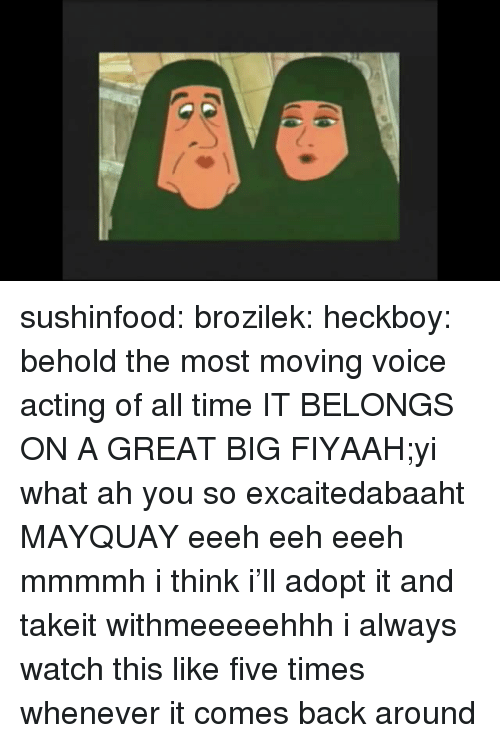 Tumblr, Blog, and Http: sushinfood: brozilek:  heckboy:  behold the most moving voice acting of all time  IT BELONGS ON A GREAT BIG FIYAAH;yi what ah you so excaitedabaaht MAYQUAY eeeh eeh eeeh mmmmh i think i'll adopt it and takeit withmeeeeehhh   i always watch this like five times whenever it comes back around