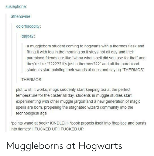 """mugs: susiephone  athenavine  colorfuloddity  dajo42:  a mugglebom student coming to hogwarts with a thermos flask and  filling it with tea in the morning so it stays hot all day and their  pureblood friends are like """"whoa what spell did you use for that"""" and  they're like""""?????2 it's just a thermos???"""" and all the pureblood  students start pointing their wands at cups and saying """"THERMOS""""  THERMOS  plot twist: it works, mugs suddenly start keeping tea at the perfect  temperature for the caster all day. students in muggle studies start  experimenting with other muggle jargon and a new generation of magic  spells are born, propelling the stagnated wizard community into the  technological age  points wand at book* KINDLEll!l *book propels itself into fireplace and bursts  into flames I FUCKED UP I FUCKED UP Muggleborns at Hogwarts"""