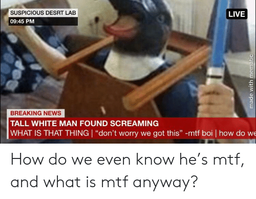 """News, Breaking News, and Live: SUSPICIOUS DESRT LAB  LIVE  09:45 PM  BREAKING NEWS  TALL WHITE MAN FOUND SCREAMING  WHAT IS THAT THING """"don't worry we got this"""" -mtf boi how do we How do we even know he's mtf, and what is mtf anyway?"""