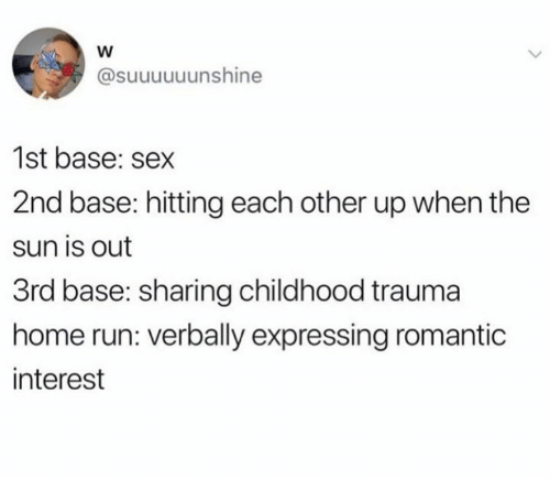 2nd base: @suuuuuunshine  1st base: sex  2nd base: hitting each other up when the  sun is out  3rd base: sharing childhood trauma  home run: verbally expressing romantic  interest