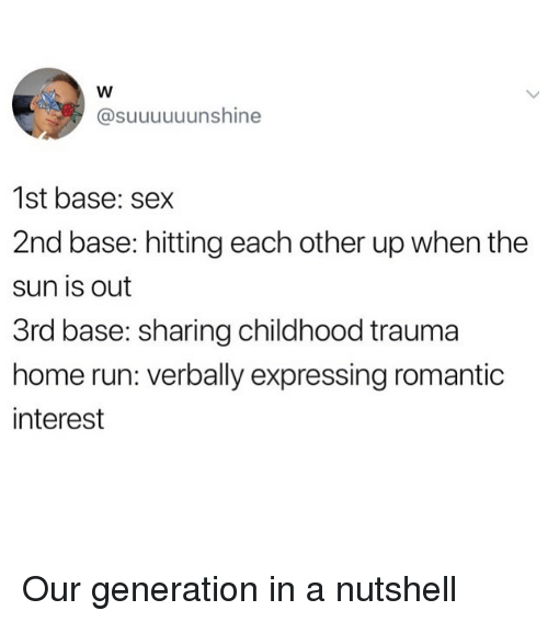 2nd base: @suuuuuunshine  1st base: sex  2nd base: hitting each other up when the  sun is out  3rd base: sharing childhood trauma  home run: verbally expressing romantic  interest Our generation in a nutshell