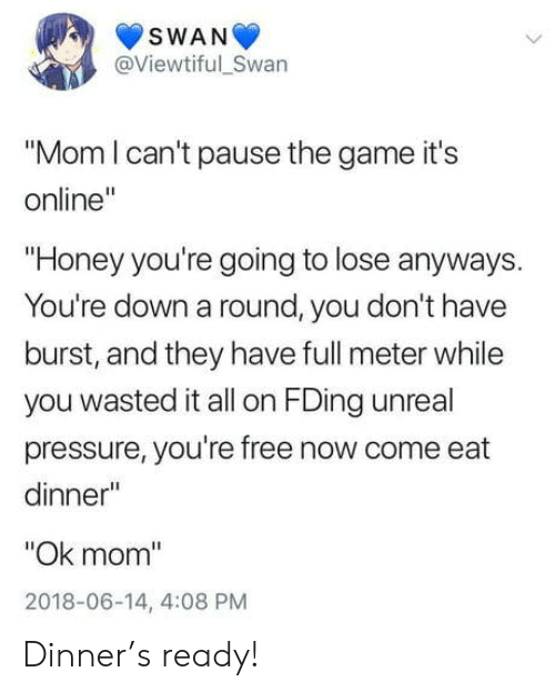 """Youre Free: SWAN  @Viewtiful_Swan  """"Mom l can't pause the game it's  online'  """"Honey you're going to lose anyways  You're down a round, you don't have  burst, and they have full meter while  you wasted it all on FDing unreal  pressure, you're free now come eat  dinner""""  """"Ok mom  2018-06-14, 4:08 PM Dinner's ready!"""