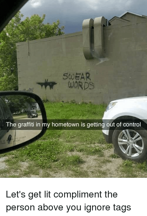 Graffiti, Lit, and Memes: SWEAR  The graffiti in my hometown is getting out of control Let's get lit compliment the person above you ignore tags