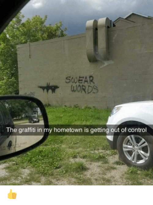 out of control: SWEAR  WORDS  The graffiti in my hometown is getting out of control 👍