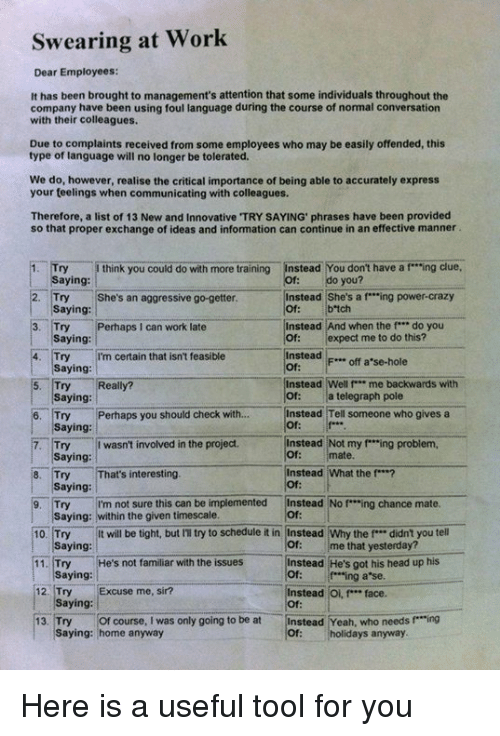 """getter: Swearing at Work  Dear Employees:  It has been brought to management's attention that some individuals throughout the  company have been using foul language during the course of normal conversation  with their colleagues.  Due to complaints received from some employees who may be easily offended, this  type of language will no longer be tolerated.  We do, however, realise the critical importance of being able to accurately express  your teelings when communicating with colleagues.  Therefore, a list of  13 New and Innovative TRY SAYING phrases have been provided  so that proper exchange of ideas and information can continue in an effective manner  Try think you could do with more training  instead You don't have a f """"ing clue,  aying  Instead She's a f """"ing power-crazy  2. Try She's an aggressive go-getter.  b tch  Saying  Instead And when the f*** do you  3. Try Perhaps I can work late  of expect me to do this?  Saying  Instead  F... off a se-hole  4. Try I'm certain that isn't feasible  Saying  Instead Well P** me backwards with  5. Try Really?  a telegraph pole  Saying:  6. Try Perhaps you should check with  Instead Tell someone who gives a  Saying  7. Try I wasn't involved in the project.  Instead Not my """"ing problem,  mate.  Saying:  8. Try  at's interesting  Instead What the f***?  Saying  9, Try  I'm not sure this can be implemented  instead No f """"ing chance mate  Saying: within the given timescale.  t will be tight, but IT try to schedule it in Instead Why the f didn't you tell  10. Try  me that yesterday?  aying  Instead He's got his head up his  He's not familiar with the issues  11. Try  Saying  ing a se.  12, Try  Excuse me, sir?  Instead Oi, f"""" face.  Saying:  13. Try Of course, I was only going to be at  Instead Yeah, who needs f Ting  saying: home anyway  holidays anyway. Here is a useful tool for you"""