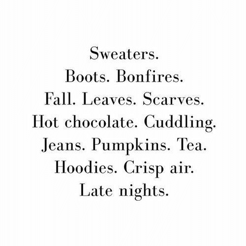 Boots: Sweaters  Boots. Bonfires  Fall. Leaves. Scarves  Hot chocolate. Cuddling.  Jeans. Pumpkins. Tea  Hoodies. Crisp air  Late nights.