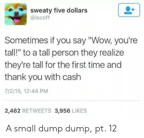 "Wow, Thank You, and Time: sweaty five dollars  @iscoff  Sometimes if you say ""Wow, you're  tall!"" to a tall person they realize  they're tall for the first time and  thank you with cash  7/2/15, 12:44 PM  2,462 RETWEETS 3,956 LIKES A small dump dump, pt. 12"