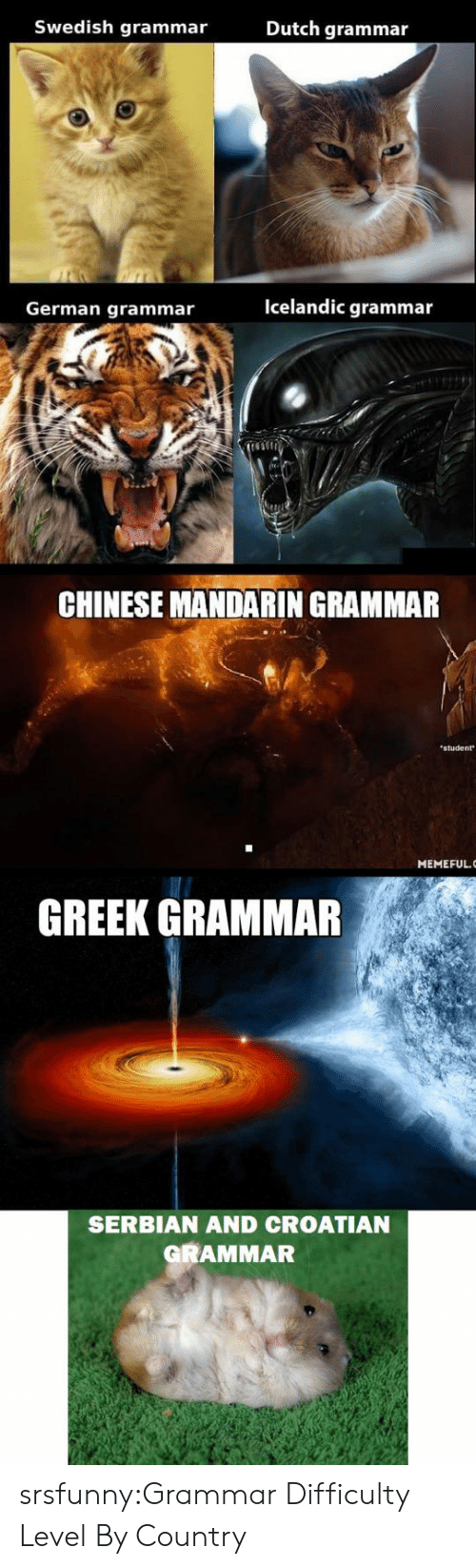 mandarin: Swedish grammar  Dutch grammar  German grammar  Icelandic grammar  CHINESE MANDARIN GRAMMAR  student  MEMEFUL.  GREEK GRAMMAR  SERBIAN AND CROATIAN  GRAMMAR srsfunny:Grammar Difficulty Level By Country