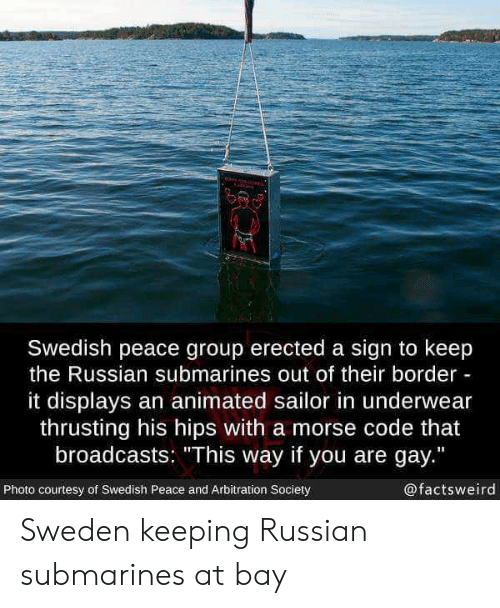 """You Are Gay: Swedish peace group erected a sign to keep  the Russian submarines out of their border  it displays an animated sailor in underwear  thrusting his hips with a morse code that  broadcasts: """"This way if you are gay.""""  Photo courtesy of Swedish Peace and Arbitration Society  @factsweird Sweden keeping Russian submarines at bay"""