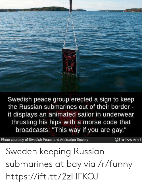 """You Are Gay: Swedish peace group erected a sign to keep  the Russian submarines out of their border  it displays an animated sailor in underwear  thrusting his hips with a morse code that  broadcasts: """"This way if you are gay.""""  Photo courtesy of Swedish Peace and Arbitration Society  @factsweird Sweden keeping Russian submarines at bay via /r/funny https://ift.tt/2zHFKOJ"""