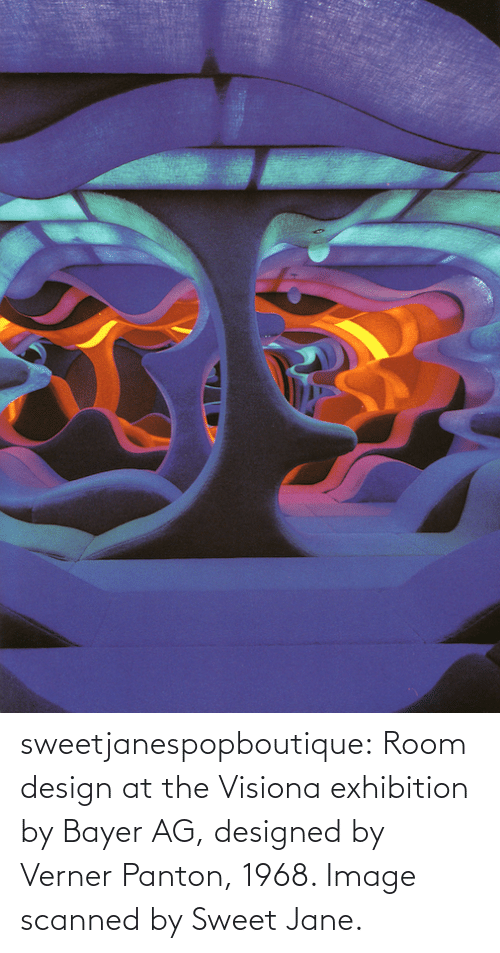 exhibition: sweetjanespopboutique: Room design at the Visiona exhibition by Bayer AG, designed by Verner Panton, 1968. Image scanned by Sweet Jane.