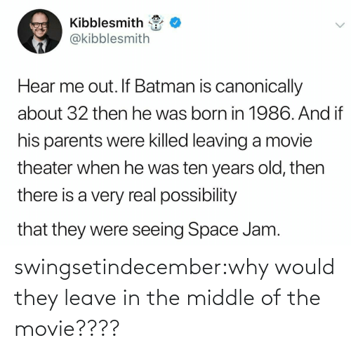 The Middle: swingsetindecember:why would they leave in the middle of the movie????