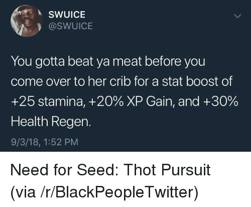 Stamina: SWUICE  @SWUICE  You gotta beat ya meat before you  come over to her crib for a stat boost of  +25 stamina, +20% XP Gain, and +30%  Health Regen.  9/3/18, 1:52 PM Need for Seed: Thot Pursuit (via /r/BlackPeopleTwitter)