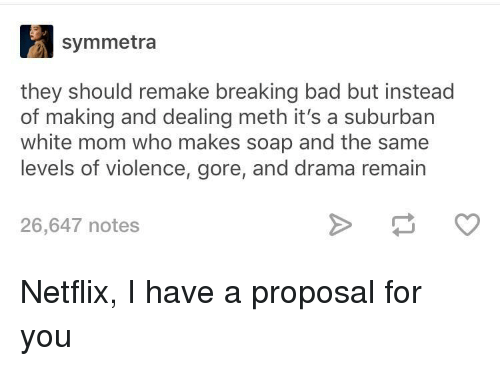 Breaking Bad: symmetra  they should remake breaking bad but instead  of making and dealing meth it's a suburban  white mom who makes soap and the same  levels of violence, gore, and drama remain  26,647 notes Netflix, I have a proposal for you