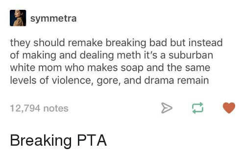 Breaking Bad: symmetra  they should remake breaking bad but instead  of making and dealing meth it's a suburban  white mom who makes soap and the same  levels of violence, gore, and drama remain  12,794 notes Breaking PTA
