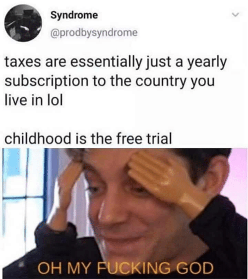 syndrome: Syndrome  @prodbysyndrome  taxes are essentially just a yearly  subscription to the country you  live in lol  childhood is the free trial  OH MY FUCKING GOD