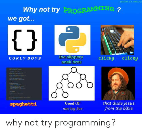 """Dude, Jesus, and Bible: @System.out.memeln()  Why not try  PROGRAMMING  we got...  1j  the slippery  snek bros  clicky clicko  CURLY BOYS  Good Ol""""  one leg Joe  that dude jesus  from the bible  spaghetti why not try programming?"""