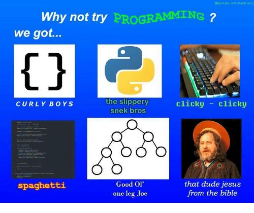"""Dude, Jesus, and Bible: System.out.memeln()  Why not try  PROGRAMMING  we got...  1j  the slippery  snek bros  clicky -clicky  CURLY BOYS  Good Ol""""  one leg Joe  that dude jesus  from the bible  spaghetti"""