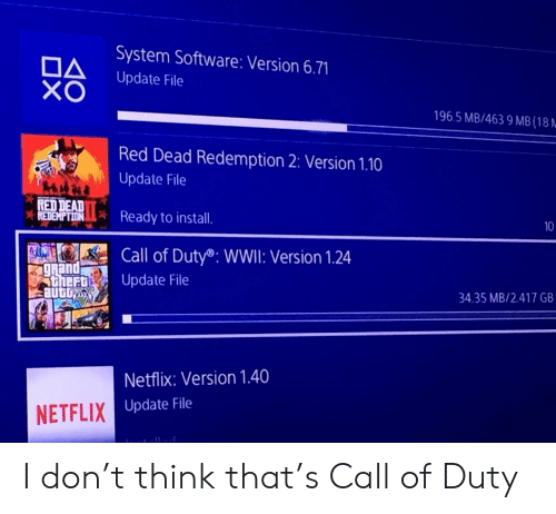 Netflix, Call of Duty, and Grand: System Software: Version 6.71  DA  XO  Update File  196.5 MB/463 9 MB(18.  Red Dead Redemption 2: Version 1.10  Update File  RED DEAD  REDEMPTION  Ready to install.  Call of Duty®: WWII: Version 1.24  grand  Athert  automy  Update File  34.35 MB/2.417 GB  Netflix: Version 1.40  NETFLIX Update File  10 I don't think that's Call of Duty