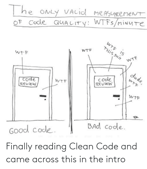 clean: T he ONLY VALid meASURemeNt  OF Code QUALITY: WTFS/miNUTe  WTE IS  WTF  U HS SI11L  WTF  wTF  dude,  code  review  WTF  code  Review,  WTF  WTF  BAd code.  Good code. Finally reading Clean Code and came across this in the intro