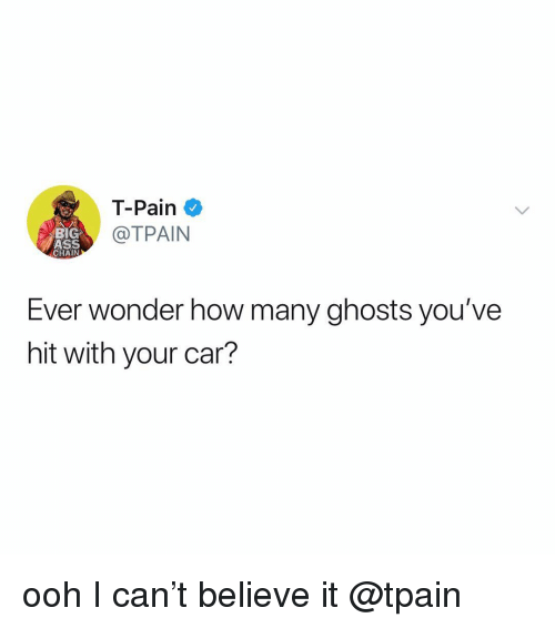 T-Pain: T-Pain  @TPAIN  BIG  ASS  CHAIN  Ever wonder how many ghosts you've  hit with your car? ooh I can't believe it @tpain