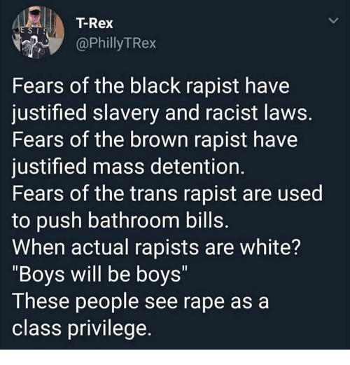 """boys will be boys:    T-Rex  @PhillyTRex  Fears of the black rapist have  justified slavery and racist laws  Fears of the brown rapist have  justified mass detention.  Fears of the trans rapist are used  to push bathroom bills  When actual rapists are white?  """"Boys will be boys""""  These people see rape as a  class privilege."""