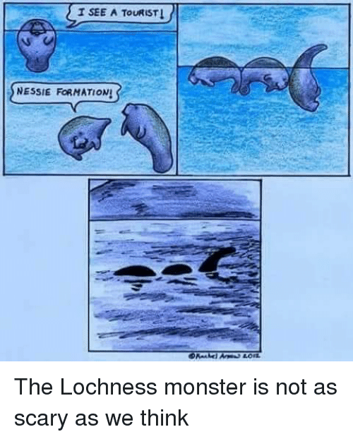 Tourist: T SEE A TOURIST  SNESSIE FORMATIONS The Lochness monster is not as scary as we think