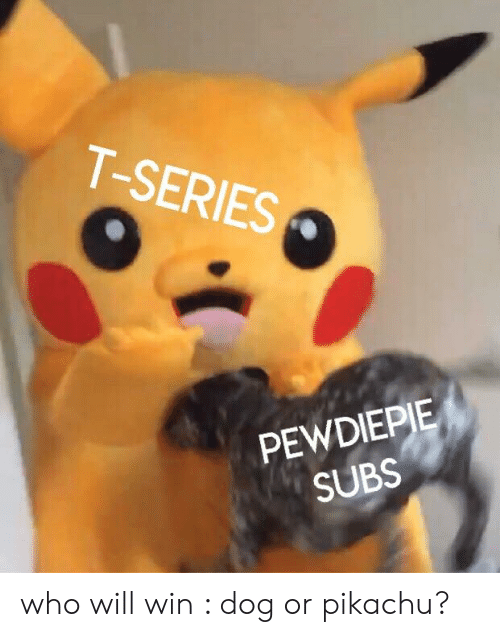 Pikachu, Dog, and Who: T-SERIES  PEWDIEPIE  SUBS who will win : dog or pikachu?