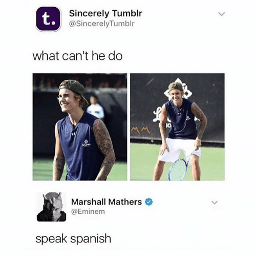 Marshall Mathers: t.  Sincerely Tumblr  @SincerelyTumblr  what can't he do  Marshall Mathers  @Eminem  speak spanish