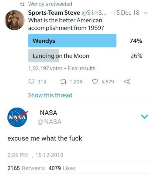 Sports Team: t Wendy's retweeted  Sports-Team Steve @Slim... 15 Dec 18  What is the better American  accomplishment from 1969?  Wendys  74%  Landing on the Moon  26%  1,02,197 votes  Final results  1,208  313  5,579  Show this thread  NASA  NASA  @NASA  excuse me what the fuck  2:25 PM 15-12-2018  2165 Retweets 4079 Likes