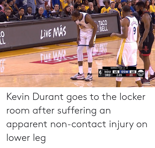 Kevin Durant, Suffering, and Series: TACO  LVEASAS  SERIES TIED 2-2  HOU 65 GSW 68  3RD 2:05 20 UN Kevin Durant goes to the locker room after suffering an apparent non-contact injury on lower leg