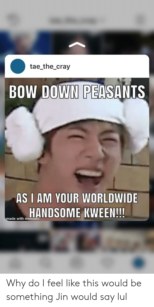 Down, Jin, and Why: tae_the_cray  BOW DOWN PEASANTS  AS I AM YOUR WORLDWIDE  HANDSOME KWEEN!!!  made with mematic Why do I feel like this would be something Jin would say lul