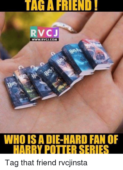 Memes, Harry Potter (Series), and 🤖: TAG A FRIEND  RVCJ  WWW. RVCJ.COM  WHO ISA DIE HARD FAN OF  HARRY POTTER SERIES Tag that friend rvcjinsta
