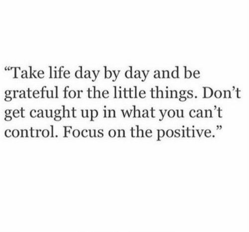"""Life, Control, and Focus: """"Take life day by day and be  grateful for the little things. Don't  get caught up in what you cant  control. Focus on the positive."""""""