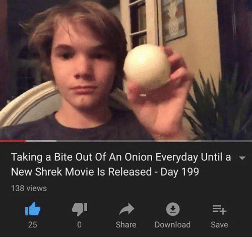 Shrek, Movie, and Onion: Taking a Bite Out Of An Onion Everyday Until  New Shrek Movie Is Released Day 199  138 views  Share  25  0  Download  Save