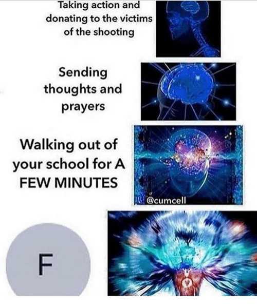 Memes, School, and 🤖: Taking action and  donating to the victims  of the shooting  Sending  thoughts and  prayers  Walking out of  your school for A  FEW MINUTES  usi. @cumcell