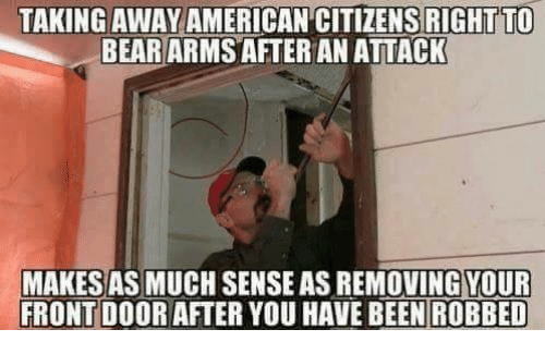 Memes, American, and 🤖: TAKING AWAY AMERICAN CITIZENS RIGHT TO  BEARARMS AFTER AN ATTACK  MAKESAS MUCH SENSE AS REMOVING YOUR  FRONT DOOR AFTER YOU HAVE BEENROBBED