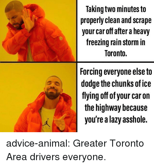 scrape: Taking two minutes to  properly clean and scrape  your car off after a heavy  freezing rain storm in  Toronto.  Forcing everyone else to  dodge the chunks of ice  fiying off of your car on  the highway because  you're a lazy asshole. advice-animal:  Greater Toronto Area drivers everyone.
