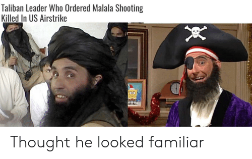 Thought, Malala, and Taliban: Taliban Leader Who Ordered Malala Shooting  Killed In US Airstrike Thought he looked familiar
