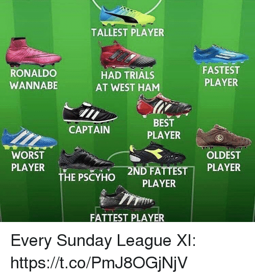 Wannabe: TALLEST PLAYER  RONALDO  WANNABE  HAD TRIALS  AT WEST HAM  FASTEST  PLAYER  BEST  PLAYER  CAPTAIN  WORST  PLAYER  OLDEST  2N  DFATTESTİ PLAYER  PLAYER  THE PSCYHO  FATTEST PLAYER Every Sunday League XI: https://t.co/PmJ8OGjNjV
