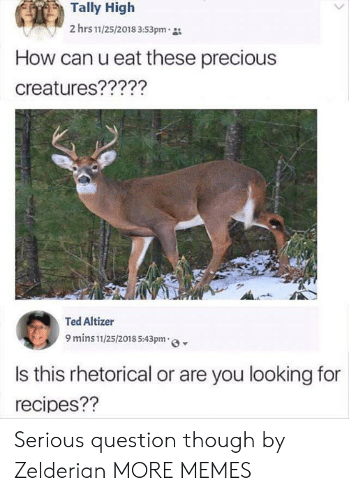 Dank, Memes, and Precious: Tally High  2 hrs 11/25/2018 3:53pm  How can u eat these precious  creatures?????  Ted Altizer  9 mins 11/25/2018 5:43pm  Is this rhetorical or are you looking for  recipes?? Serious question though by Zelderian MORE MEMES