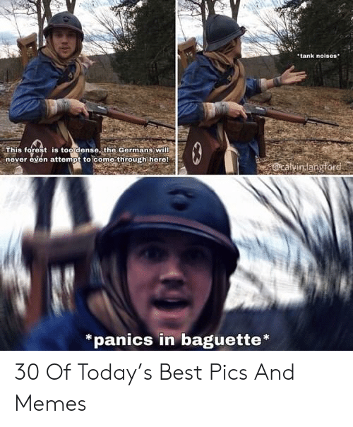 Memes, Best, and Today: tank noises  This forest is too dense, the Germans will  never even attempt to come through here!  *panics in baguette 30 Of Today's Best Pics And Memes