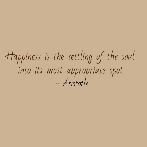 Aristotle, Soul, and Spot: tappiness is the settling of the soul  into its most appropriate spot.  Aristotle