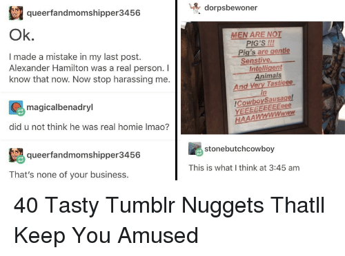 Animals, Homie, and Tumblr: taqueerfandmomshipper3456 |  dorpsbewoner  Ok.  MEN ARE NOT  PIG'S 111  Pig's are gentle  I made a mistake in my last post.  Alexander Hamilton was a real person.I  know that now. Now stop harassing me.  Senstive  Intelligent  Animals  And Very Tastieee  in  magicalbenadryl  CowbovSausage  did u not think he was real homie Imao?  queerfandmomshipper3456  stonebutchcowboy  That's none of your business.  This is what I think at 3:45 am 40 Tasty Tumblr Nuggets Thatll Keep You Amused
