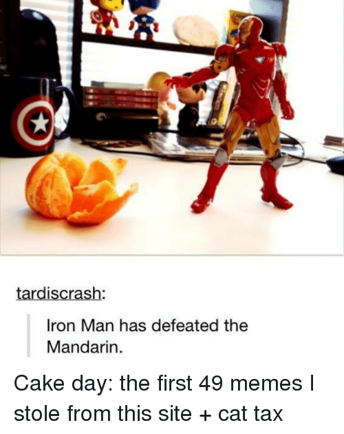 mandarin: tardiscrash  Iron Man has defeated the  Mandarin Cake day: the first 49 memes I stole from this site + cat tax