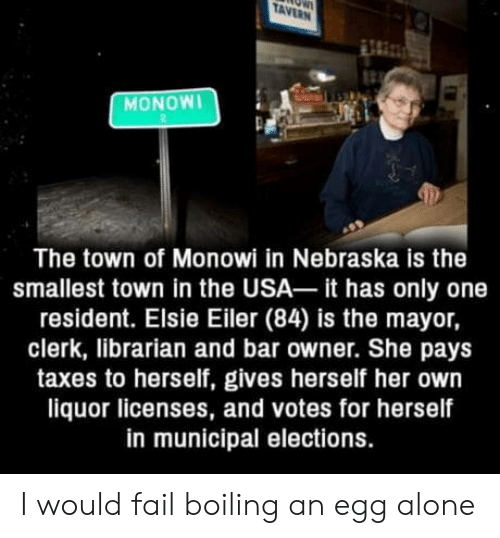 librarian: TAVERN  MONOWI  The town of Monowi in Nebraska is the  smallest town in the USA it has only one  resident. Elsie Eiler (84) is the mayor,  clerk, librarian and bar owner. She pays  taxes to herself, gives herself her own  liquor licenses, and votes for herself  in municipal elections. I would fail boiling an egg alone