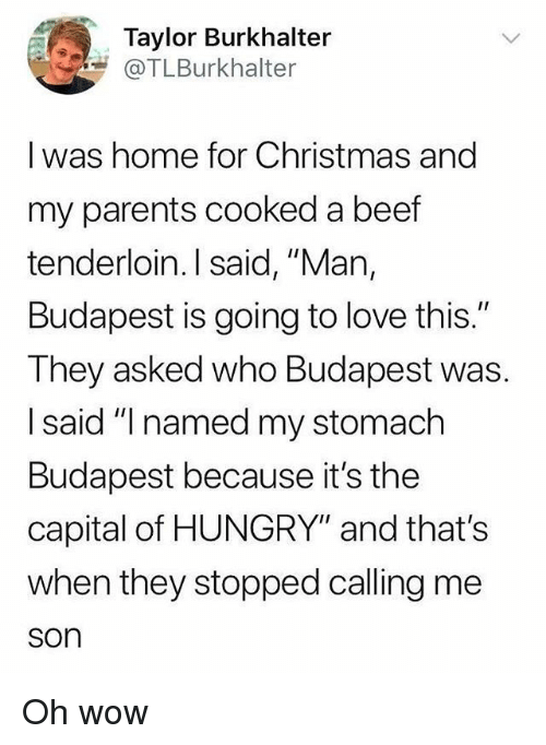 """Beef, Christmas, and Hungry: Taylor Burkhalter  @TLBurkhalter  I was home for Christmas and  my parents cooked a beef  tenderloin. I said, """"Man,  Budapest is going to love this.""""  They asked who Budapest was.  I said """"I named my stomach  Budapest because it's the  capital of HUNGRY"""" and that's  when they stopped calling me  son Oh wow"""