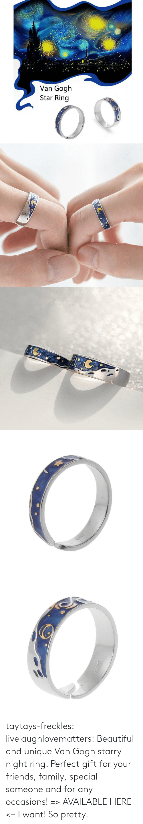 van gogh: taytays-freckles: livelaughlovematters:  Beautiful and unique Van Gogh starry night ring. Perfect gift for your friends, family, special someone and for any occasions! => AVAILABLE HERE <=    I want! So pretty!
