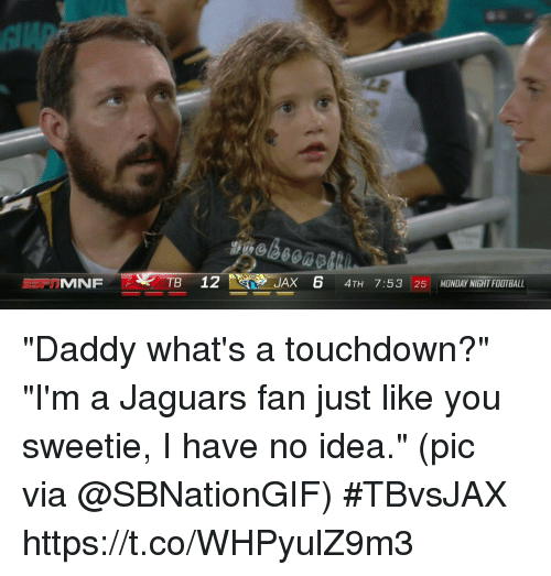 """Touchdowners: TB 12  JAX 6 4TH 7:53 25 MONDAY NIGHT FOOTBALL """"Daddy what's a touchdown?"""" """"I'm a Jaguars fan just like you sweetie, I have no idea.""""  (pic via @SBNationGIF) #TBvsJAX https://t.co/WHPyulZ9m3"""
